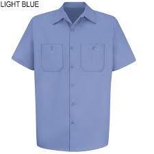 Light Blue Mens Short Sleeve Uniform Shirt