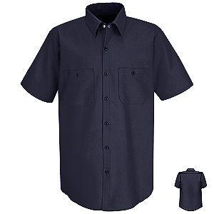 Mens Wrinkle Resistant Short Sleeve Cotton Work Shirt