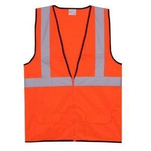 Solid Orange Zipper Safety Vest